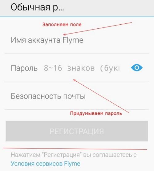 Форма регистрации Flyme