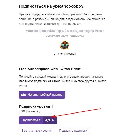 Платная подписка на Twitch пользователя