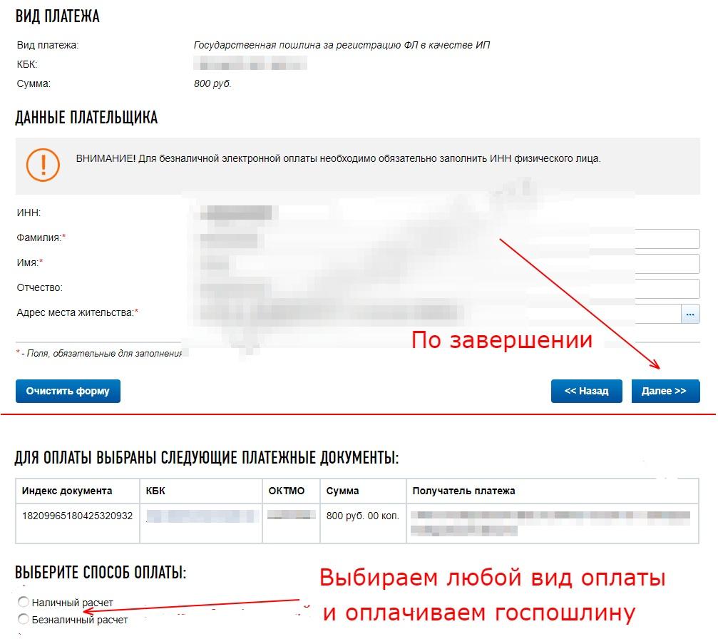 Указание данных плательщика и выбор способа оплаты